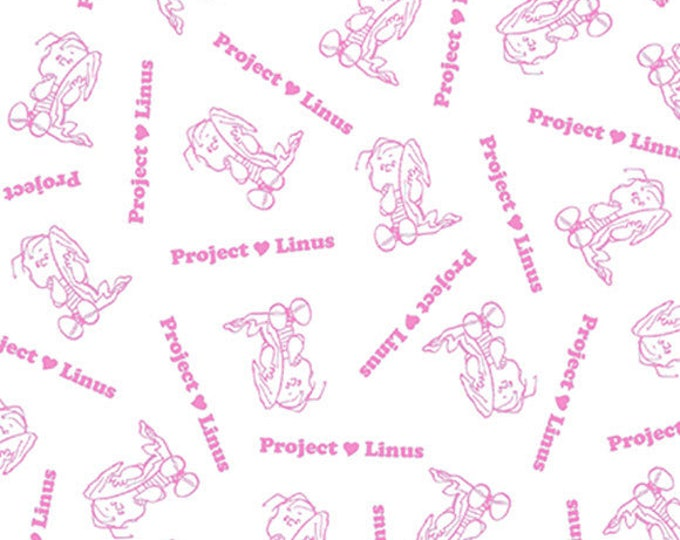 PROJECT LINUS - Blender in Pink and White - Peanuts Charlie Brown Cotton Quilt Fabric - Quilting Treasures Fabrics - 22326-ZP (W4017)