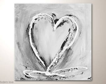 """Heart Painting, Romantic Fine Art Textured: """"Modern love"""" - Abstract Wall Decoration With Gray And White. Acrylic Modern Art Wall Hanging"""