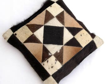 Natural Cowhide Luxurious Patchwork Hairon Cushion/pillow Cover (15''x 15'')a133