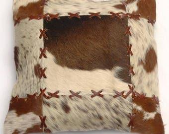 Natural Cowhide Luxurious Patchwork Hairon Cushion/pillow Cover (15''x 15'')a204