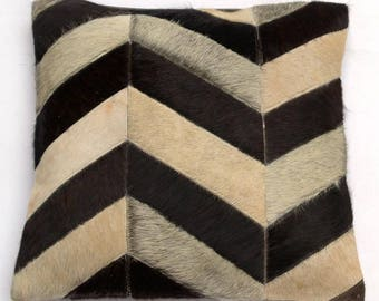 Natural Cowhide Luxurious Patchwork Hairon Cushion/pillow Cover (15''x 15'')a223