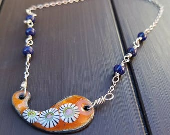 Orange and Blue Charm Necklace on Sterling Silver, Enameled Copper Paisley Necklace, Mezmerizing Amoeba Necklace