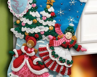 "Bucilla Skaters ~ 18"" Felt Christmas Stocking Kit #86357, Ice Skating, New 2012"