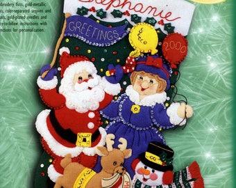 """Celebration 18"""" Bucilla Felt Christmas Stocking Kit #84063"""