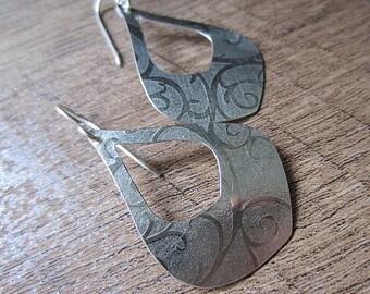 Lotus Petal Hoop Earrings. Sterling Silver with Swirl Pattern. Medium Length Dangle Earrings Handmade. Artisan.