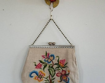 SALE Butterfly Tree 1950s/50s woven linen purse. Vintage handbag. Flower BIG bag. Mid Century yarn by numbers.