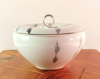 Vintage, Mid Century Trend China Made in Japan Parade Pattern Sugar Bowl and Lid with Blue & Gray Geometric Leaves and Platinum Trim.