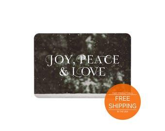 Joy peace love doormat, seasonal decor, housewarming Christmas gift, welcome mat