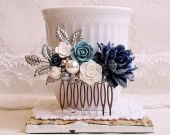 Navy blue rose Silver Bridal comb Vintage inspired Blue and white flower comb Pearl wedding comb