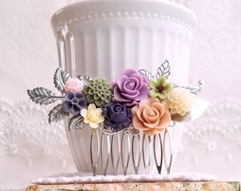 Silver bridal hair comb flower assemblage Lilac, sage green and muted peach declarative comb shabby chic hair comb