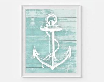 Anchor Wall Decor, Anchor Print, Nautical Home Decor, Teal Wall Art, Anchor Decor, Beach House Decor, Beach Decor, Coastal Decor, Anchor Art