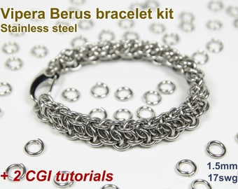 Vipera Berus Bracelet Kit, Chainmaille Kit, Stainless Steel, Chainmail Kit, DIY Kit, Jump Rings, Chainmail Bracelet Kit, Chainmail Tutorial