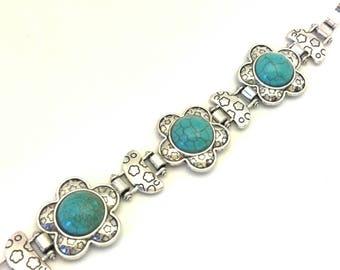 Vintage Woman Bracelet Faux Blue Turquoise Round Cabochon Tibetian Brass Wonderful