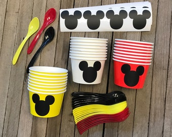 Mickey Mouse Ice Cream Set, Serves 24, Mickey Treat Cups, Mickey Cereal/Soup Bowls