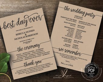 Best Day Ever Wedding Program PDF card template, instant download editable printable, Ceremony order card in Calligraphy theme (TED410_11)
