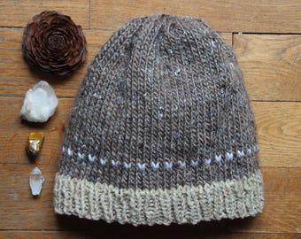 Bonnet Marron/Beige - Femme - tricoté main.