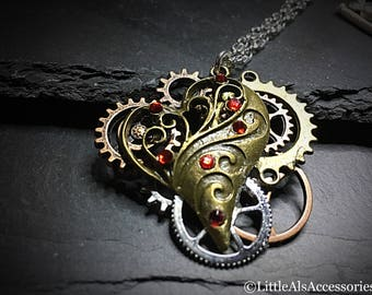 Steampunk Jewelry, Steampunk Heart Pendant, Steampunk Cogs, Cog Necklace, Steampunk Cog Necklace, Gift For Her, Steampunk Gifts