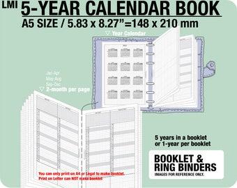 A5 5-year Calendar Book / 2018 2019 2020 2021 2022 - Inserts Refills Filofax Binder Collins