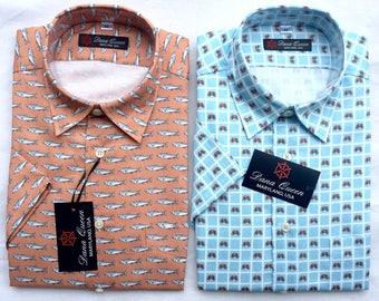 Men's short sleeves shirt, dress shirt, summer shirt, button down shirt, crab shirt, fish shirt