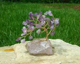 Mini Amethyst Gem Tree Beaded Bonsai