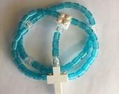 Rosary made of Lego Bricks - Translucent Aqua, Clear & White Catholic Rosary