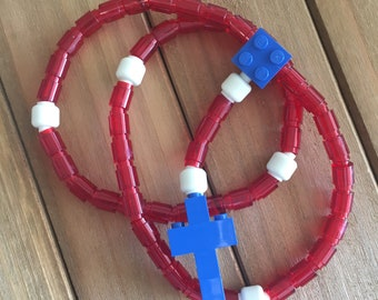 Glow In The Dark! Rosary made of Lego Bricks - Translucent Red, White & Blue Catholic Rosary