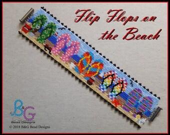 FLIP FLOPS on the BEACH Peyote Bracelet Cuff Pattern