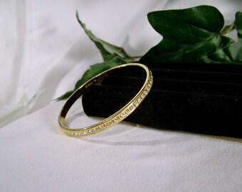 Vintage Monet M Polished Gold Plate Crystal Rhinestone Round Bangle Bracelet