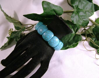Vintage Faux Turquoise Robin's Egg Blue Chunky Wide Stretch Bracelet