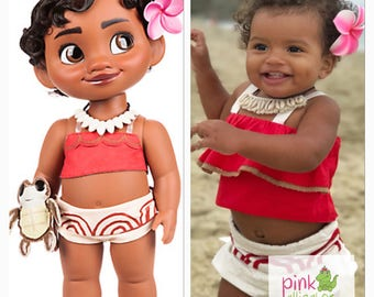 Ships Free! The Cutest Baby Toddler Moana Costume Outfit Dress Up  6m to 4T