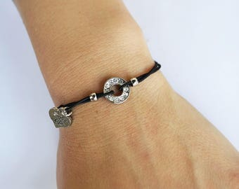 Black rondelle rhinestone Stretch Bracelet