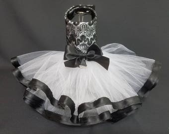 Dog Dress. Black and White Dog Dress, Dog Harness Tutu Dog Dress. Dog Harness Dress, Designer Dog Dress.