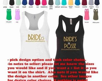 Sale- Sale- Bachelorette party shirts, bridesmaid gift, bridesmaid tank tops, bride tank top, bridesmaid shirt, bride's posse,  bridal tanks