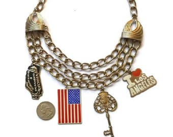 Huge American CHARM Necklace 60s 70s Fashion USA Statement Jewelry Patriotic Charms 3 Chain Flag LA Key Los Angeles California Girl Gift Her