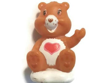 Original 80s CARE BEAR Mini Tenderheart Miniature Toy TCFC 1980s Carebear Doll Collectible Rare Figurine Love Bear Heart Valentine Gift Bff