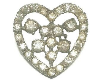 Clear Rhinestone Heart Brooch Vintage Sweetheart Pin Silver Mid Century Valentine Broach Romantic Jewelry Wedding Anniversary Gift Under 20