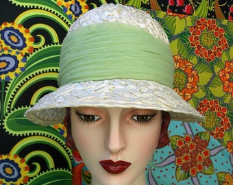 Mod Vintage 60's Hat. Retro Helmet Cloche. Cream Wide Textural Straw. Sage Green Chiffon Pleated Scarf Hat Band. Chic Mod Wedding.  sz 22