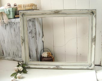 Antique Cream and Gold Large Ornate Open Frame, Farmhouse Off White Distressed Wedding Frame, 18 x 24 Open Frame, Shabby Chic Nursery Frame