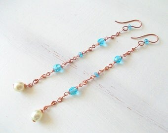 Long earrings with handmade copper chain, combined with blue glass beads, earrings gift idea for girls