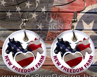 Freedom Farms 1in Earring Veteran Charity,PTSD Services,Military,horses