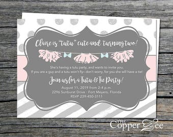 Girl Birthday Invitation // Tutu and Tie Party // Tutu and Tie Baby Shower // Gender Reveal