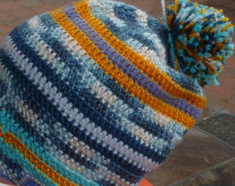Crochet  Beanie Hat Blue Gold Pom Pom Slouch style
