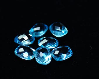 AAAAA Grade ON SALE 7 Pieces Faceted Blue Topaz Gemstone 9x7 mm - Loose Blue Topaz Stone