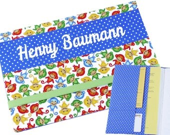 """Cover A5 """"little apes"""" in blue, for notebook, daily planner, journal or exercise book"""