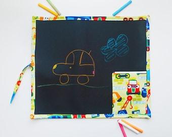 Kid's Travel Chalkboard with Trucks - Construction Chalkboard - Kid's Travel Toys - Kid's Art Supplies - Kid's Learning Tools