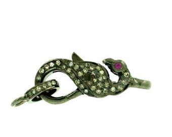 35% Sale -- Pave Diamond Jewelry , 32 mm Size , Oxidized Silver Diamond Connector , Pave Diamond Jewelry 1 pc.