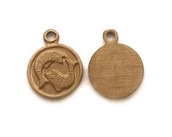 6x Brass Pisces Charms - M029 - C