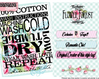 Flower Forest-Care Instruction Tags-PNG JPG Download File-Wash Instructions Tag-Label-Garmet Tags-Labels-Clothes Clothing Tags-Sew In Tag