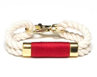 Nautical Rope Bracelet / Ivory Rope Bracelet / Gold Nautical Bracelet / Nautical Jewelry / Nautical Gift / Red Rope Bracelet