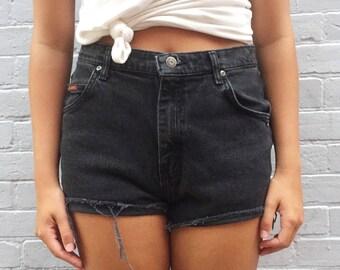 Lee Vintage Black Denim High Waisted Shorts - M